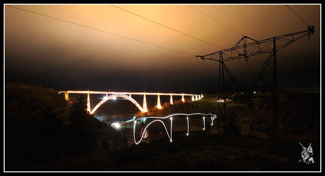 La ligne des Causses - Viaduc de Garabit de nuit & Light painting