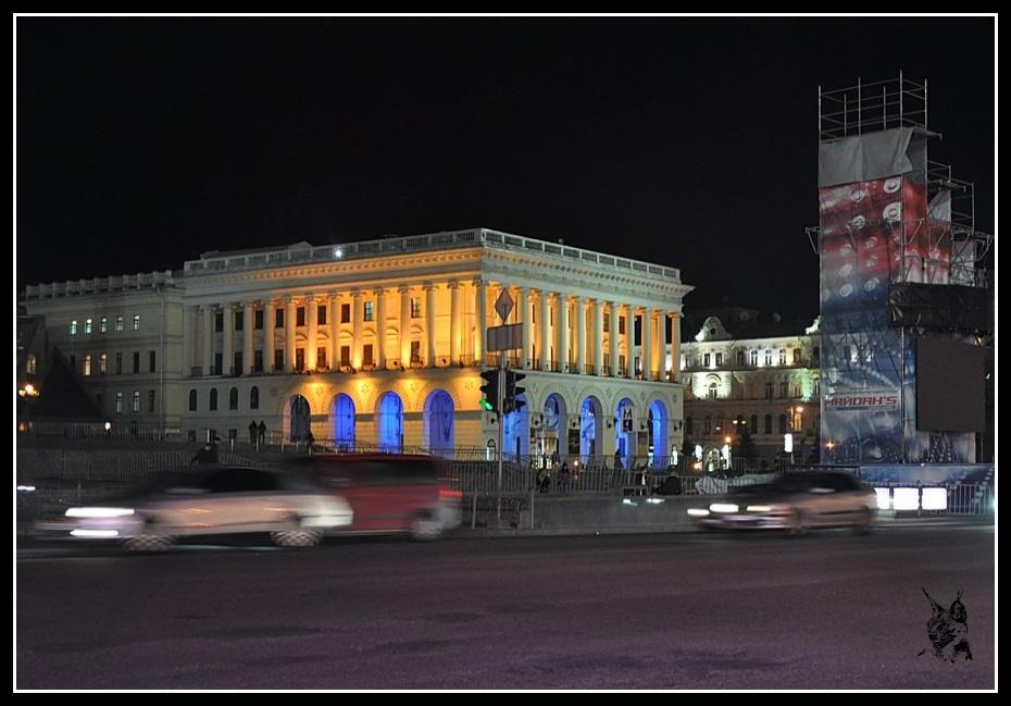 Kiev - revolution de 2014 Euro maidan. Photo Place de l'Indépendance (Maidan) avant et après les émeutes