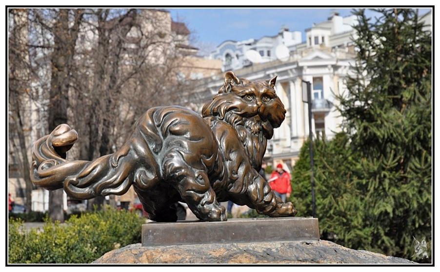 Kiev, le chat en bronze de la Place Zolotovorits'ka