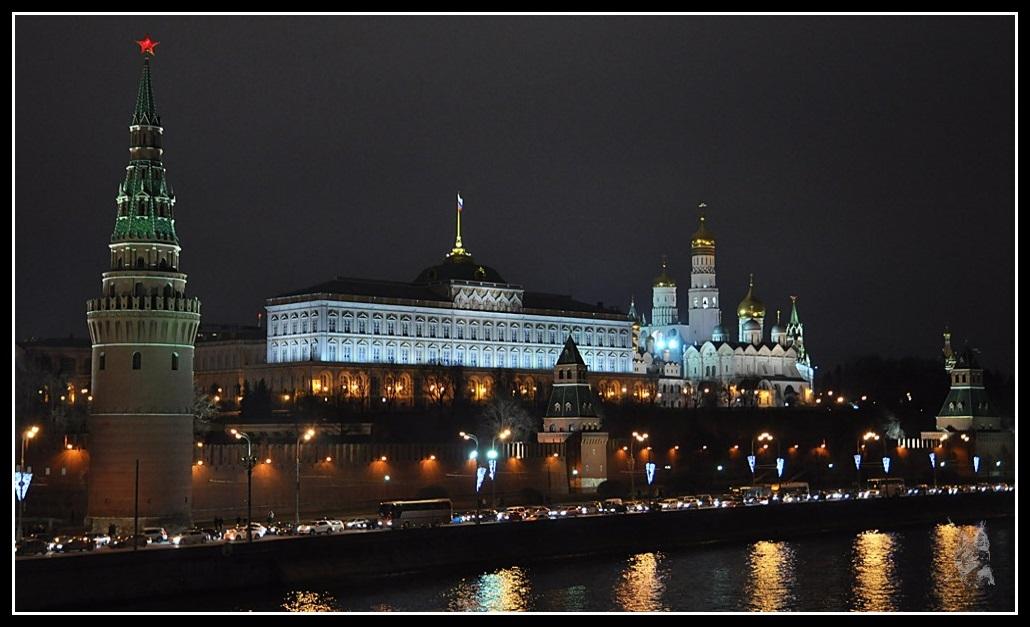 Le Kremlin de Moscou - Vu d'ensemble de nuit