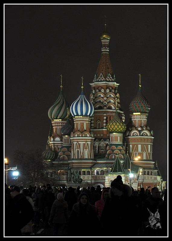 Moscou - La basilique Basile le Bienheureux de nuit