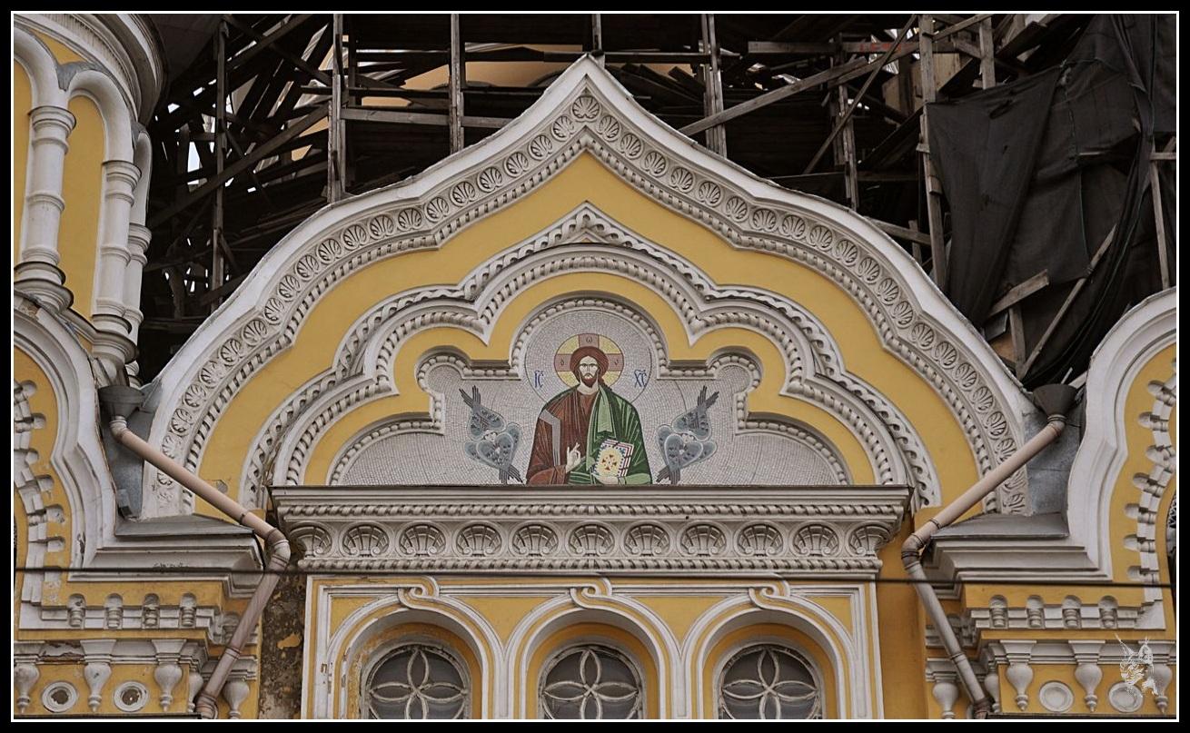 Ukraine - Odessa Détail du tympan de l'église Panleleymonivsky